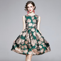 Dress Autumn 2020 Green (gold plated jacquard zipper with inner lining) M,L,XL,2XL Middle-skirt Sleeveless Crew neck middle-waisted Decor