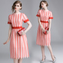 Dress Spring 2020 Pink (vertical stripe) stand collar with contrast lace back zipper S,M,L,XL,2XL Mid length dress singleton  Short sleeve street Crew neck High waist stripe Pleated skirt routine Type A Europe and America