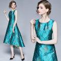 Dress Spring 2020 Emerald green (jacquard relief) zipper lining after gilding M,L,XL,2XL Mid length dress singleton  Sleeveless Crew neck zipper Irregular skirt