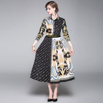 Fashion suit Autumn 2020 M (skirt Print Elastic), l (skirt Print Elastic), XL (skirt Print Elastic), XXL (skirt Print Elastic) Positioning printing shirt + elastic waist pleated skirt 25-35 years old 96% and above polyester fiber