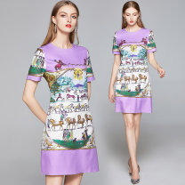 Dress Summer 2020 M,L,XL,2XL Short skirt singleton  Short sleeve commute Crew neck Loose waist Animal design zipper A-line skirt routine Others 25-29 years old Type A lady 81% (inclusive) - 90% (inclusive) other polyester fiber