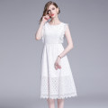 Dress Summer 2020 White (wave lace, cut out lace, back zipper) S,M,L,XL,2XL Mid length dress singleton  Sleeveless street Crew neck High waist Solid color Socket Big swing Petal sleeve Type A Hollow, lace 91% (inclusive) - 95% (inclusive) Lace Europe and America