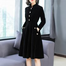 Dress Winter of 2019 black S,M,L,XL,2XL Middle-skirt singleton  Long sleeves commute stand collar middle-waisted Solid color zipper Big swing routine Others 18-24 years old Type A Button, pocket other