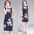 Dress Summer of 2019 Navy Blue S,M,L,XL,2XL Middle-skirt singleton  Sleeveless street Crew neck High waist Decor zipper 30-34 years old Type H Embroidery, zipper 31% (inclusive) - 50% (inclusive) Europe and America