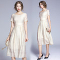 Dress Summer of 2019 Off white S,M,L,XL,2XL longuette singleton  Short sleeve Crew neck Loose waist Solid color Socket Big swing other Others Type H Frenulum