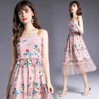 Dress Summer 2020 Picture color longuette singleton  Sleeveless street other middle-waisted Broken flowers Socket A-line skirt other camisole Type A 51% (inclusive) - 70% (inclusive) Europe and America