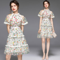 Dress Summer 2020 Mesh flower embroidery lace ear edge back zipper S,M,L,XL,2XL Short skirt singleton  Short sleeve Sweet stand collar middle-waisted Decor zipper Princess Dress Princess sleeve Others 25-29 years old Type X 31% (inclusive) - 50% (inclusive) Lace polyester fiber princess