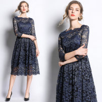 Dress Spring 2020 Blue (one line collar, bright lace, side zipper) S,M,L,XL,2XL,3XL longuette singleton  three quarter sleeve street middle-waisted zipper Big swing Type A Lace Europe and America