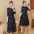 Women's large Spring of 2019 Picture color Large XL, large XXL, large XXL, large XXXXL, large XXXXL, large L Dress singleton  commute easy moderate Socket Long sleeves bow lady Crew neck Medium length fold routine 25-29 years old Bandage 81% (inclusive) - 90% (inclusive) longuette Princess Dress bow