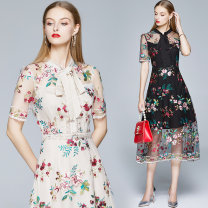Dress Summer 2020 Apricot (BRA) perspective color thread flower embroidery side zipper, black (mesh embroidery lace bubble sleeve) S,M,L,XL,2XL Mid length dress singleton  Short sleeve Sweet Crew neck middle-waisted Decor zipper A-line skirt puff sleeve Others Type A Embroidery other polyester fiber