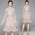 Dress Autumn 2020 Pink (Chiffon) hollow out heavy industry embroidery bubble sleeve S (belt for lace), m (belt for elastic waist), l (belt for lace), XL (belt for lace), XXL (belt for elastic waist) Middle-skirt singleton  three quarter sleeve Sweet stand collar Elastic waist Decor Socket puff sleeve