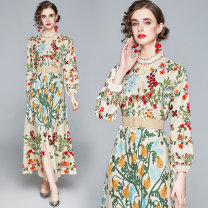 Dress Autumn 2020 Decor M,L,XL,2XL longuette Long sleeves Sweet other 25-29 years old polyester fiber