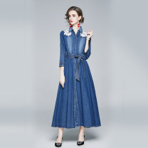 Dress Autumn 2020 blue M,L,XL,2XL longuette singleton  Nine point sleeve commute Polo collar middle-waisted Solid color Single breasted A-line skirt routine Others 25-29 years old Type A Angel City Retro pocket 31% (inclusive) - 50% (inclusive) Denim cotton