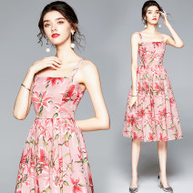 Dress Summer 2020 Pink S,M,L,XL,XXL Miniskirt singleton  Sweet middle-waisted Decor zipper A-line skirt camisole 25-29 years old printing 51% (inclusive) - 70% (inclusive) Ruili