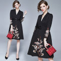 Dress Spring 2020 Black (elastic cotton heavy embroidery side zipper) M,L,XL,2XL longuette singleton  Long sleeves commute V-neck middle-waisted Decor A-line skirt routine Type A Embroidery, zipper