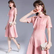 Dress Summer 2020 Pink lace with vinegar fiber back zipper) necktie M (6-bar three-dimensional lace, l (6-bar three-dimensional lace, XL (6-bar three-dimensional lace, XXL (6-bar three-dimensional lace) Mid length dress singleton  Short sleeve street Polo collar middle-waisted Solid color zipper