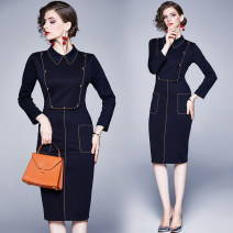 Dress Spring 2020 Safranine (gold button) elastic back zipper with split back S,M,L,XL,2XL Mid length dress singleton  Long sleeves street Polo collar High waist zipper A-line skirt routine Others 25-29 years old Type A 31% (inclusive) - 50% (inclusive) Europe and America