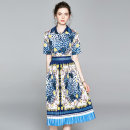 Dress Summer 2020 Blue (Leopard Print) side zipper M (pleated HEM), l (pleated HEM), XL (pleated HEM), XXL (pleated HEM) Mid length dress singleton  Short sleeve street square neck middle-waisted Leopard Print Socket Pleated skirt routine Others 25-29 years old Type A cotton Europe and America