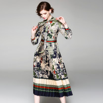 Dress Spring 2021 Red (leaves) floral stripe print side zipper, green (bow tie) pleated hem side zipper S,M,L,XL,2XL longuette singleton  Long sleeves commute Scarf Collar middle-waisted Decor zipper Pleated skirt routine 25-29 years old Type A Lace up, button, zipper, print Cellulose acetate