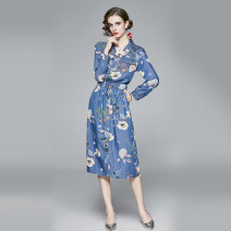 Dress Autumn 2020 Decor M,L,XL,2XL Miniskirt singleton  Long sleeves commute V-neck High waist Decor zipper A-line skirt routine Others 25-29 years old Type A Angel City Frenulum 3209# 31% (inclusive) - 50% (inclusive) Denim cotton