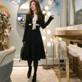 Dress Winter 2020 Pink, red, blue, black Average size Mid length dress singleton  Long sleeves commute Crew neck High waist Solid color Socket A-line skirt routine Type A Other / other Korean version