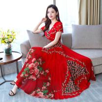 Dress Summer of 2019 Black (non positioning rose print), red (non positioning rose print) M,L,XL,2XL,3XL
