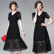 Dress Summer 2020 black M,L,XL,2XL Mid length dress singleton  Short sleeve commute V-neck middle-waisted Solid color zipper A-line skirt routine Others 25-29 years old Korean version Lace 81% (inclusive) - 90% (inclusive) Lace polyester fiber