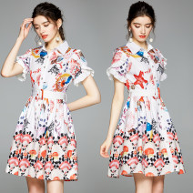 Dress Summer 2020 Decor M,L,XL,2XL Miniskirt singleton  Short sleeve street stand collar middle-waisted Decor Single breasted other routine Others 18-24 years old Type A 91% (inclusive) - 95% (inclusive) other polyester fiber Europe and America