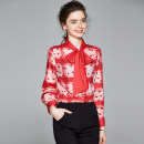 shirt gules S,M,L,XL,3XL,XXL Spring 2020 other 51% (inclusive) - 70% (inclusive) Nine point sleeve commute Regular Single row multi button shirt sleeve 25-29 years old Korean version Bow, print
