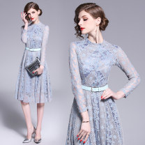 Dress Spring of 2019 Grey (black belt for free) S,M,L,XL,2XL Mid length dress singleton  Nine point sleeve commute stand collar High waist other Single breasted Big swing routine Others 25-29 years old Type A Retro Lace Cellulose acetate