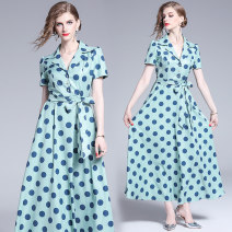 Dress Summer of 2019 Green (with belt) S,M,L,XL,2XL longuette singleton  street tailored collar middle-waisted Dot Three buttons Big swing routine Type A Europe and America