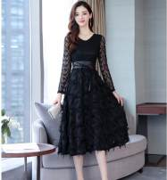 Dress Autumn of 2019 Black (free wide belt) back zipper with lining M,L,XL,2XL longuette singleton  Long sleeves commute V-neck High waist Solid color Socket Big swing routine 25-29 years old Type A Korean version Fringes, hollowing, pleating, Gouhua, hollowing, bandage, zipper, lace Lace