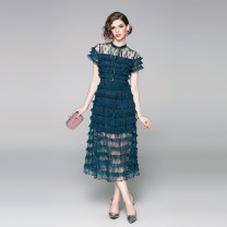 Dress Summer 2020 Black green (bra perspective 15 layers of cake back zipper) M (mesh embroidery with lace), l (mesh embroidery with lace), XL (mesh embroidery with lace), XXL (mesh embroidery with lace) longuette singleton  Short sleeve street Crew neck middle-waisted Solid color zipper routine Lace