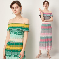 Dress Summer 2020 Green, pink Average size longuette singleton  Sweet One word collar middle-waisted stripe A-line skirt 18-24 years old knitting cotton Ruili