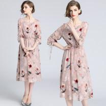 Dress Spring 2020 Flocking printing elastic waist skirt + suspender skirt S (cuff drawstring fold tie), m (cuff drawstring fold tie), l (cuff drawstring fold tie), XL (cuff drawstring fold tie), XXL (cuff drawstring fold tie) Middle-skirt Two piece set elbow sleeve commute Crew neck High waist Decor