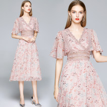 Dress Spring 2020 Pink (Chiffon) printing with cut out lace back zipper M (X-ray of the back of the bubble sleeve), l (X-ray of the back of the bubble sleeve), XL (soft pink lining of the lotus sleeve), XXL (soft pink lining of the lotus sleeve) Miniskirt singleton  Long sleeves street V-neck zipper