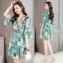 Dress Summer of 2019 green S,M,L,XL,2XL Middle-skirt singleton  elbow sleeve commute V-neck High waist Decor Socket A-line skirt routine Others 25-29 years old Type X Korean version printing Chiffon