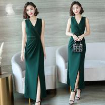 Dress Summer 2020 Green (elastic high split back zipper button) S,M,L,XL,2XL,3XL longuette singleton  Sleeveless V-neck High waist Solid color zipper One pace skirt