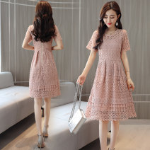 Dress Summer of 2018 Pink S,M,L,XL,2XL Mid length dress singleton  Short sleeve commute Crew neck High waist Solid color Socket A-line skirt routine Others 25-29 years old Type A Korean version Hollowed out, pleated, zipper, lace Lace