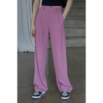 Casual pants Pink S,M,L Summer 2021 trousers Wide leg pants High waist commute routine 18-24 years old 96% and above K19304 Other / other Korean version pocket polyester fiber