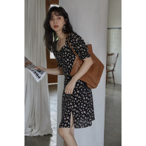 Dress Summer 2021 Black flower S, M Mid length dress singleton  Short sleeve commute square neck Loose waist Broken flowers Big swing other 18-24 years old Type H Other / other Korean version 51% (inclusive) - 70% (inclusive) other