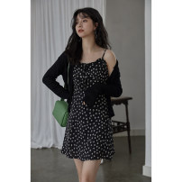 Dress Summer 2021 Black flower, black (sunscreen sweater) S, M Mid length dress singleton  Short sleeve commute V-neck Loose waist Broken flowers Big swing other camisole 18-24 years old Type H Other / other Korean version Q16372 More than 95% polyester fiber