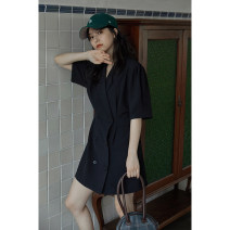 Dress Summer 2021 black S, M longuette singleton  Short sleeve commute other Loose waist Solid color double-breasted Pleated skirt other Others 18-24 years old Type H Other / other Korean version Q16367 More than 95% polyester fiber