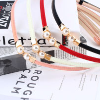 Belt / belt / chain Pu (artificial leather) Black, white, red, pink female belt Sweet Single loop youth a hook Patent leather 1cm alloy alone