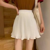 skirt Autumn of 2019 Average size (140 to 120 kg) white Versatile Natural waist 18-24 years old 30% and below other polyester fiber