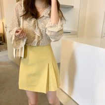 skirt Spring 2021 S, M Yellow spot, blue spot, yellow pre-sale 4-6 working days, blue pre-sale 4-6 working days Short skirt commute Natural waist Solid color Type A 18-24 years old More than 95% cotton Simplicity