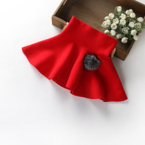 skirt 90cm,100cm,110cm,120cm,130cm Red, gray, black Other / other female Cotton 80% Cashmere 20% spring and autumn skirt lady Solid color A-line skirt cotton 0803-11 Class B