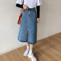 skirt Spring 2021 S,M,L blue longuette commute High waist A-line skirt Solid color Type A 18-24 years old 71% (inclusive) - 80% (inclusive) Denim cotton pocket Korean version
