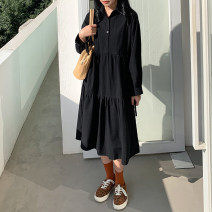 Dress Winter 2020 black Average size longuette singleton  Long sleeves commute Polo collar Loose waist Solid color Socket A-line skirt routine Others 18-24 years old Type A Korean version Button 71% (inclusive) - 80% (inclusive) other cotton