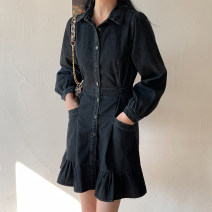 Dress Spring 2021 black S, M Short skirt singleton  Long sleeves commute Polo collar High waist Solid color Single breasted A-line skirt routine 18-24 years old Type A Korean version Button 71% (inclusive) - 80% (inclusive) Denim cotton